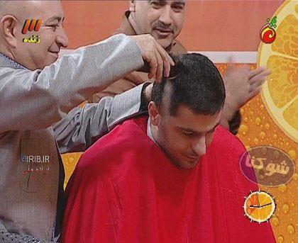 تراشیدن موهای علی ضیا در برنامه ویتامین ث