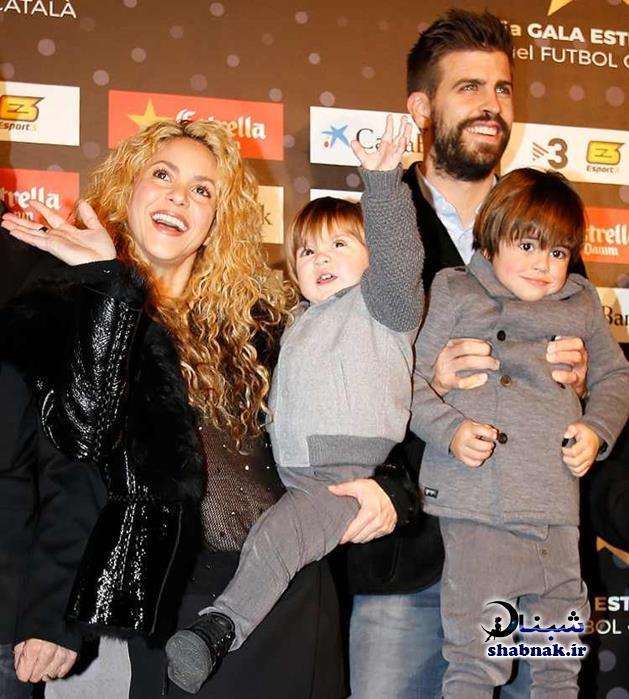 عکس خانوادگی جرارد پیکه و همسرش شکیرا و فرزندانش